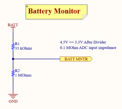 Battery Monitor Voltage Divider schematic