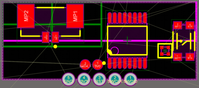 2D view of critical components placed in Altium Designer