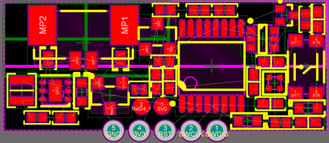2D PCB view after component placement in Altium Designer