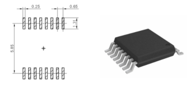Footprint of the 16TSSOP microcontroller package - although this package is slightly bigger than the QFN 5 mm x 5 mm option, it allows routing of traces underneath the device on the same layer.