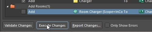 Deselect Room Execute Changes