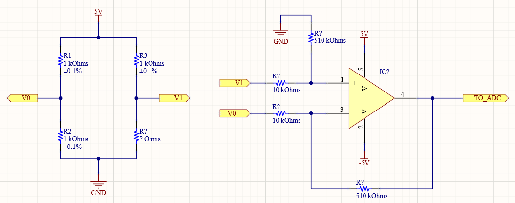Wheatstone bridge with Differential Amplifier