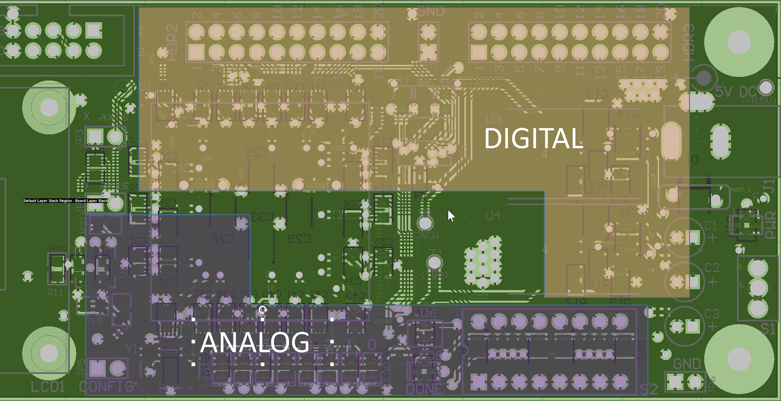 Analog and digital ground regions in a PCB