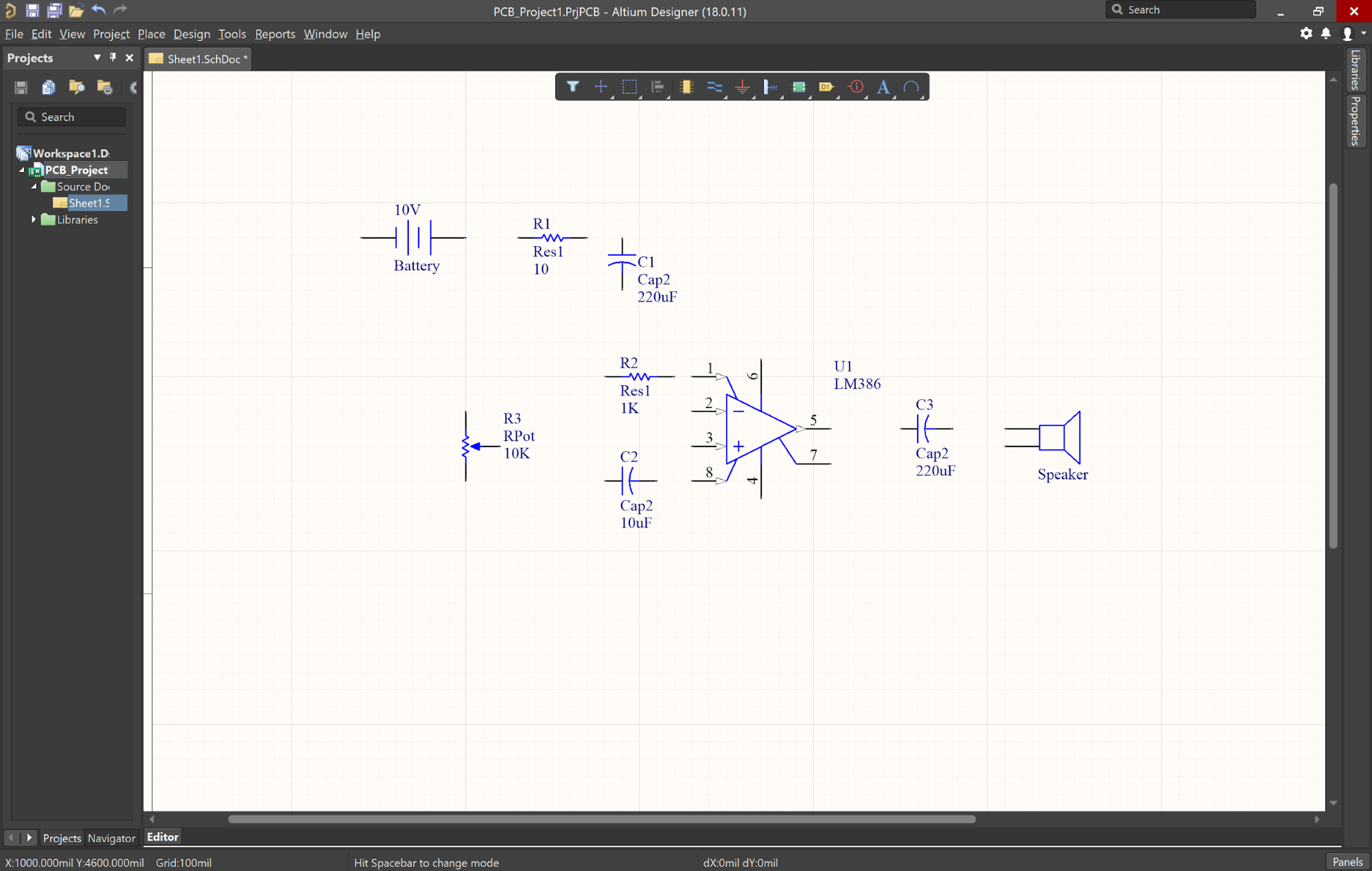 Altium Designer schematic tutorial components