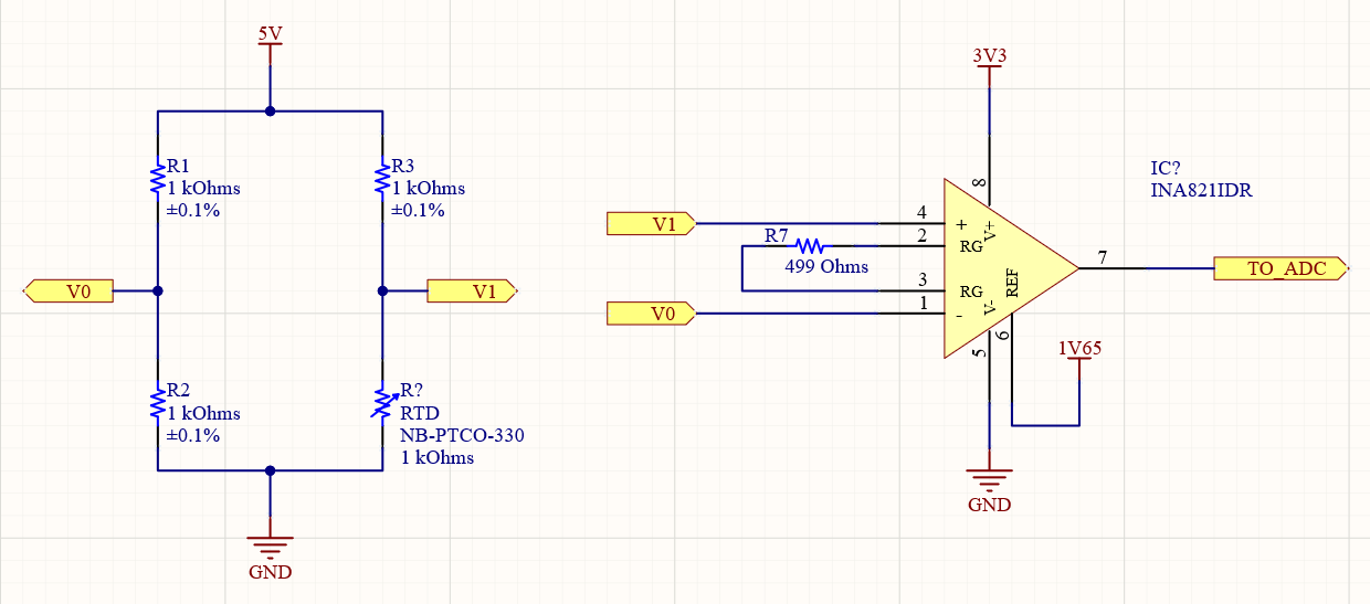 Wheatstone bridge with Instrumentation Amplifier