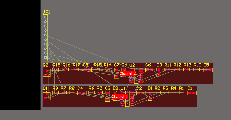 Screenshot of PCB design populated with designated rooms