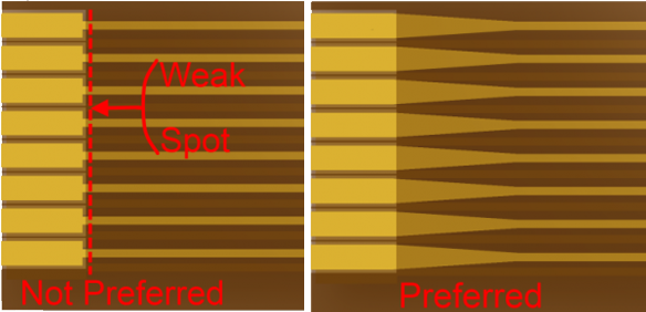 Rigid Flex comparison of not preferred and preferred layouts