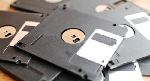 Picture of floppy disks stacked on top of each other