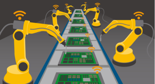 Cartoon image of robotic arms assembling printed circuit boards