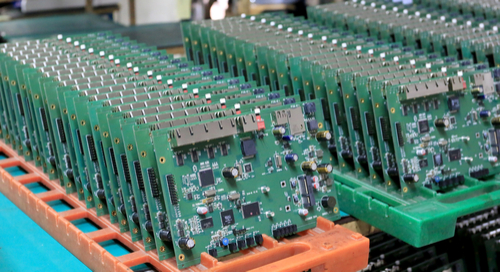 Assembled circuit boards on racks