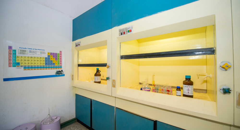 Chemicals in a fume hood