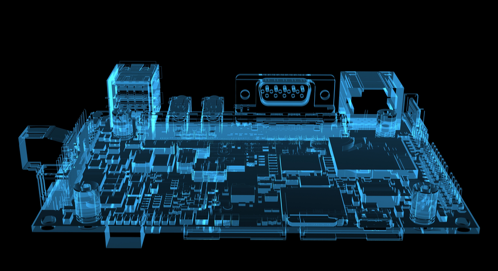 3D rendered x-ray image of motherboard