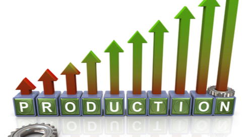 Graphic of increased production with letters spelling out production
