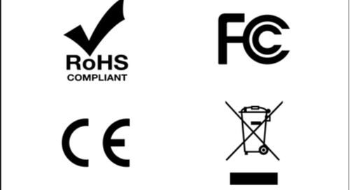 RoHS, FCC, CE and WEEE symbols