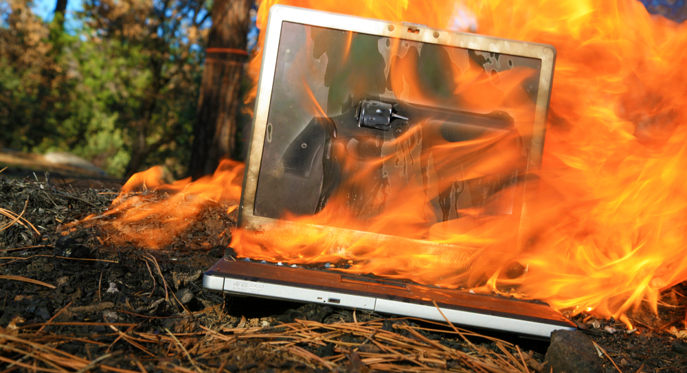 Laptop on fire