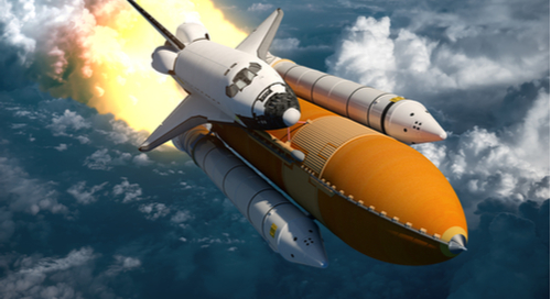 Spaceshuttle im Flug