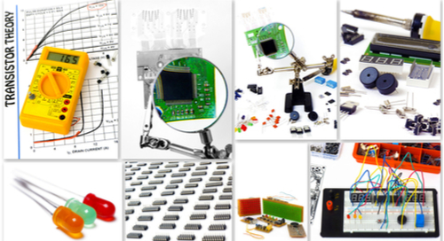 A collection of photos for DIY electronics isolated on white background