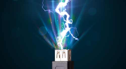 USB cable shooting lightning from its connector