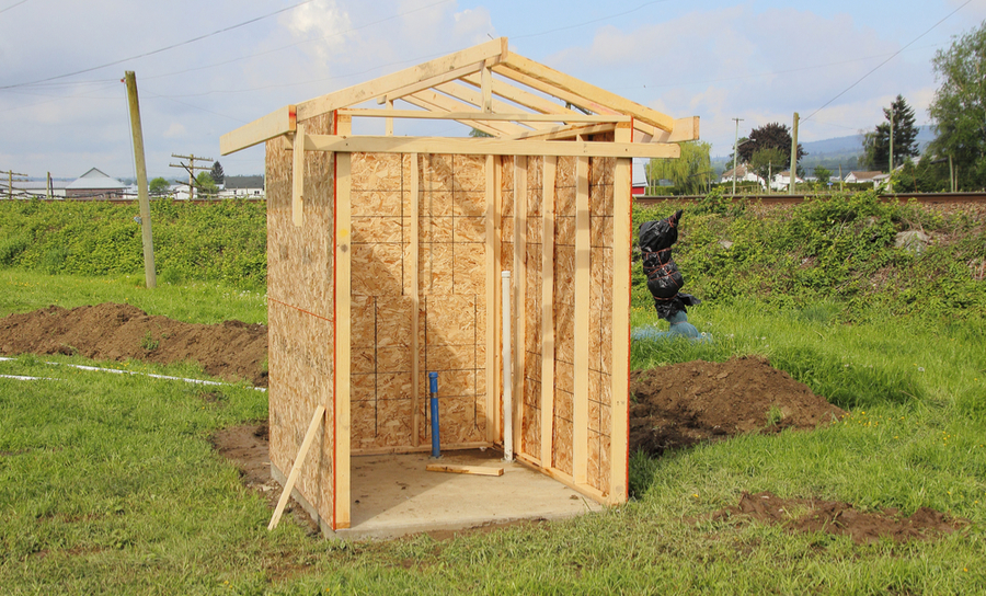 Picture of small utility shed being constructed