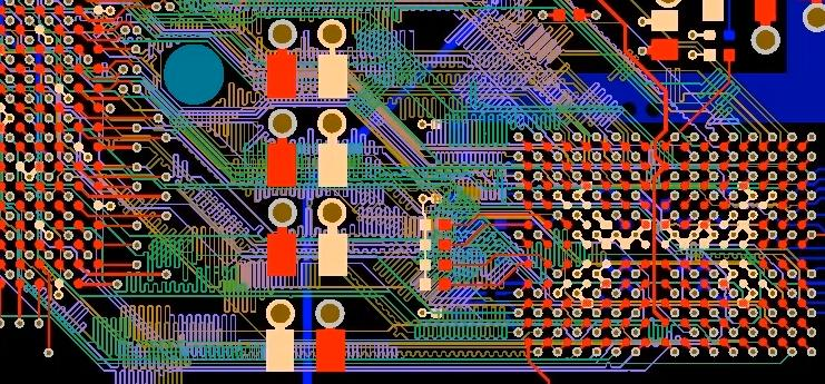 Picture of routing on a PCB