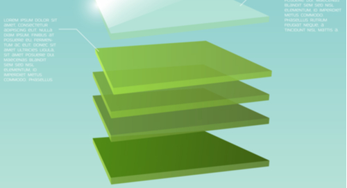 Five 3D green square layers with the top transparent