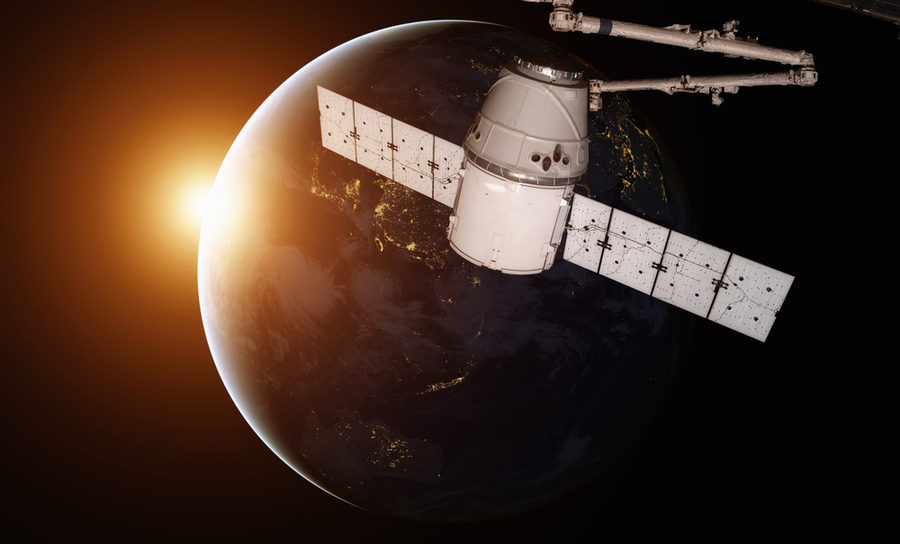 SpaceX Dragon orbiting the earth