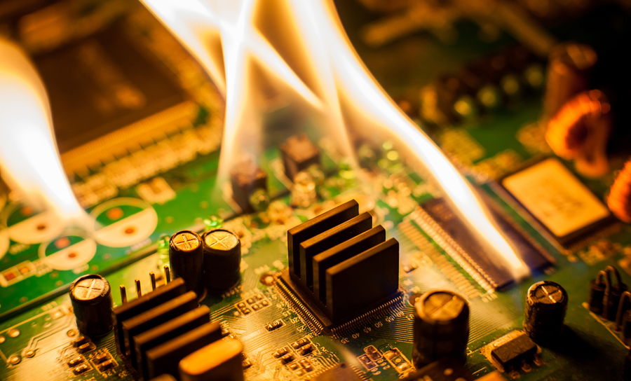Overheated PCBs can catch on fire