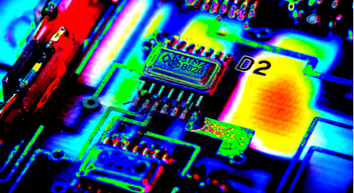 Infrared image of a PCB board running at high current