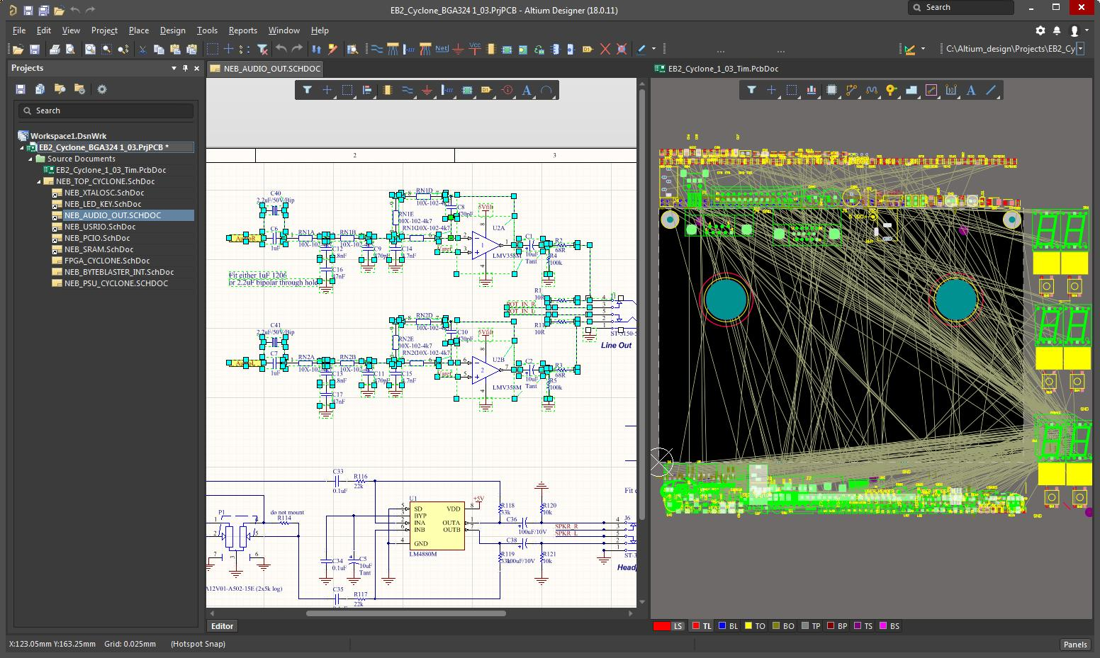 Screen capture of AD with components selected in the schematic