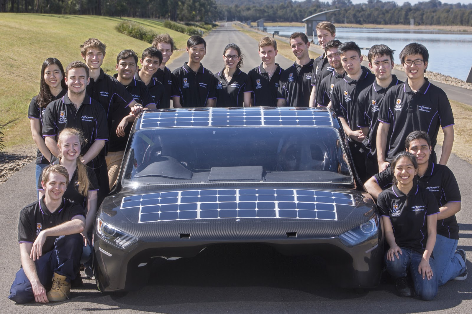 Students with solar car