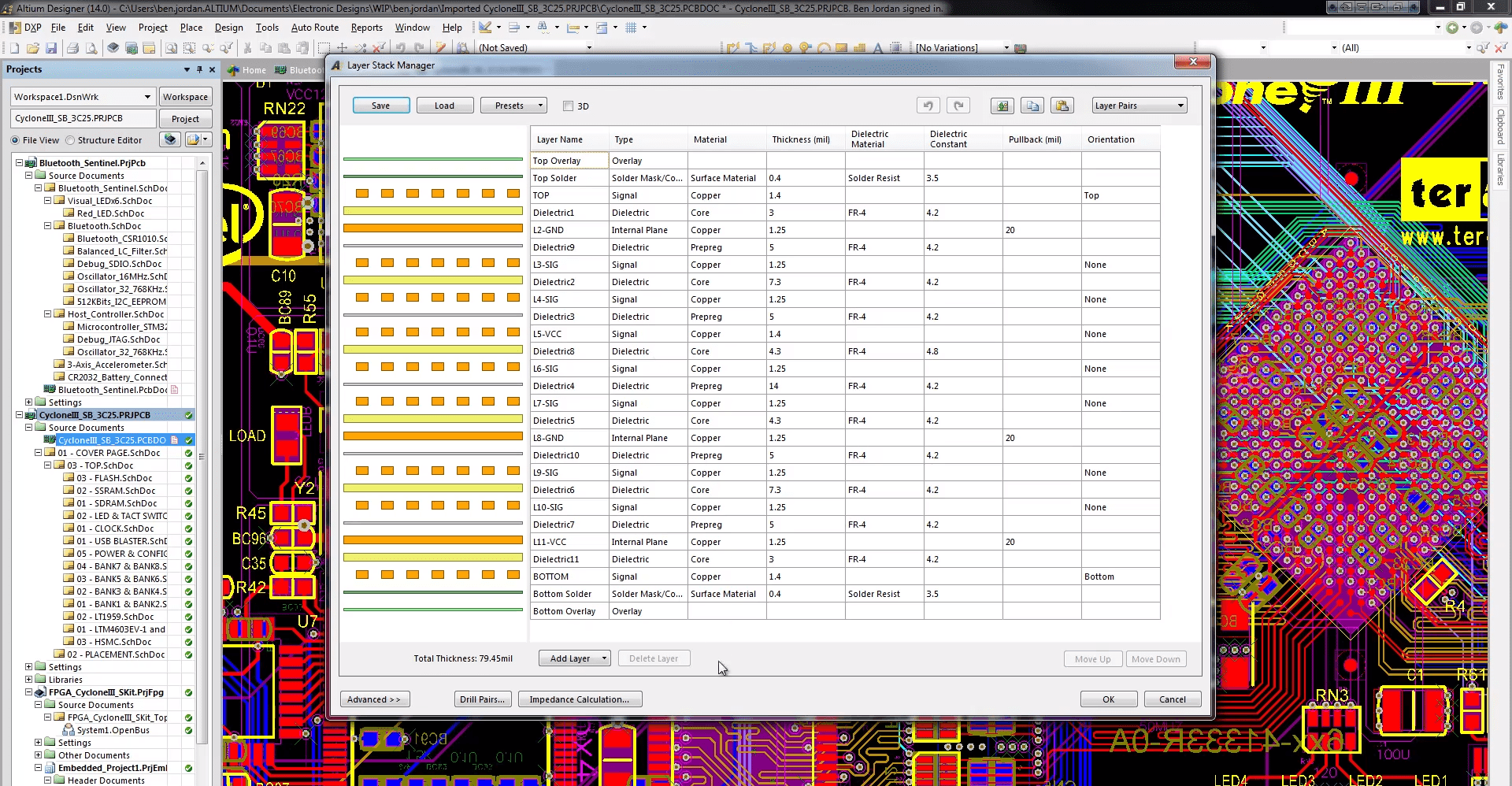 Altium's Layer Stack Manager