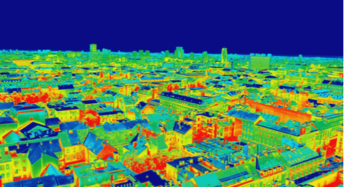 City in infrared coloring