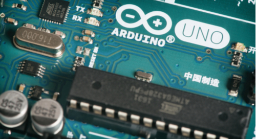 A microcontroller on a circuit board