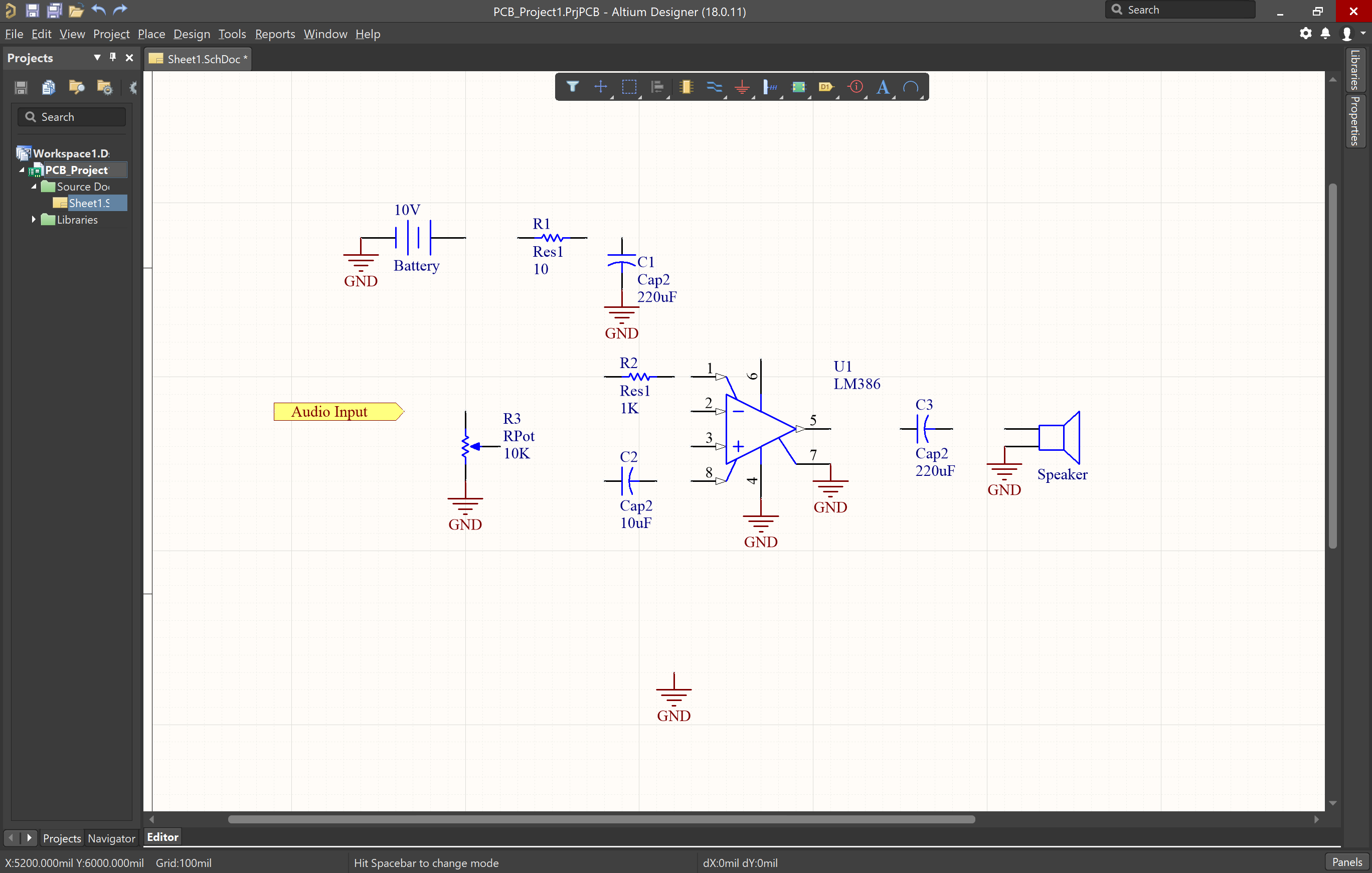 Picture of schematic with grounds added for components