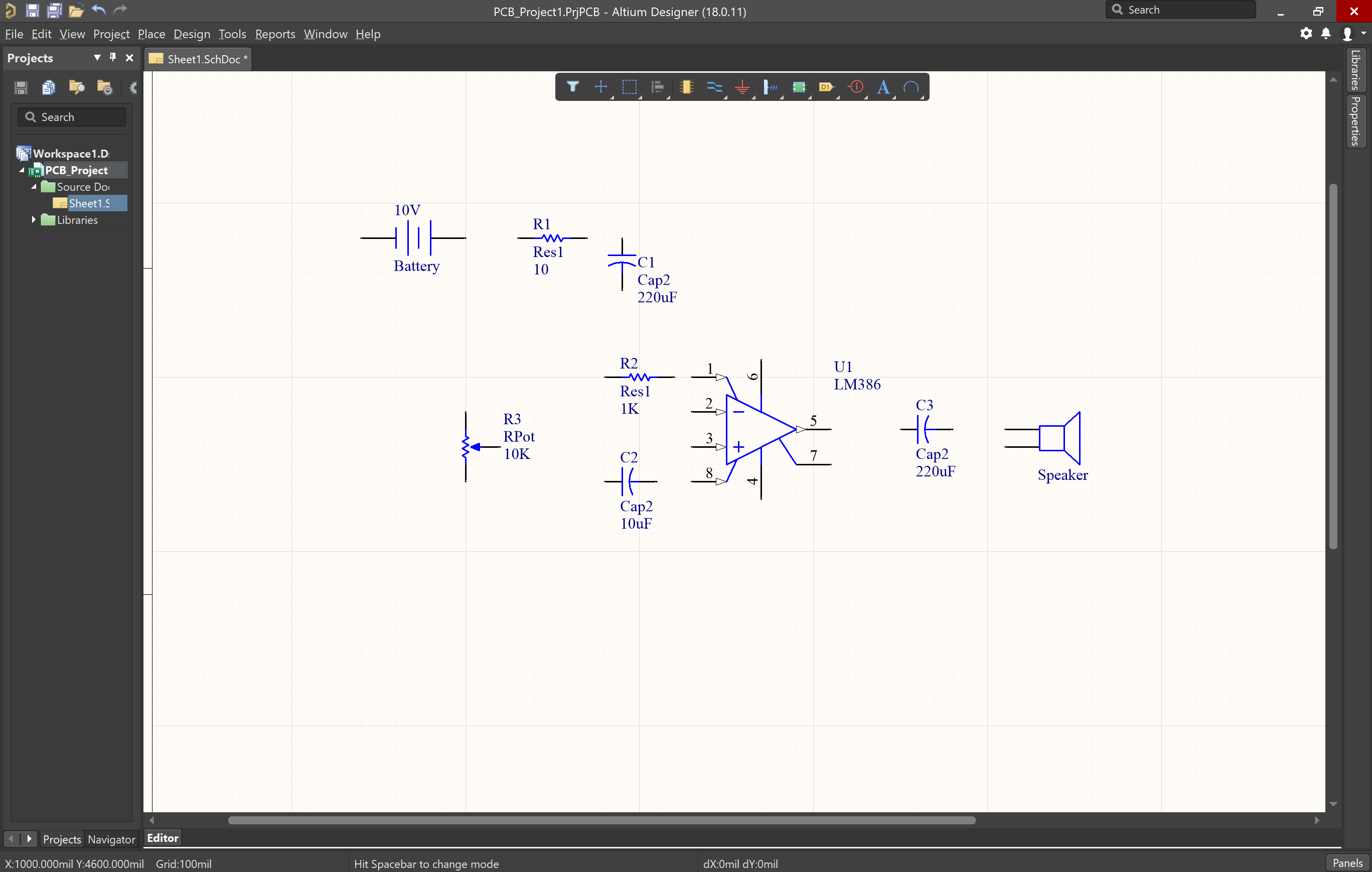 Picture of schematic with components in Altium