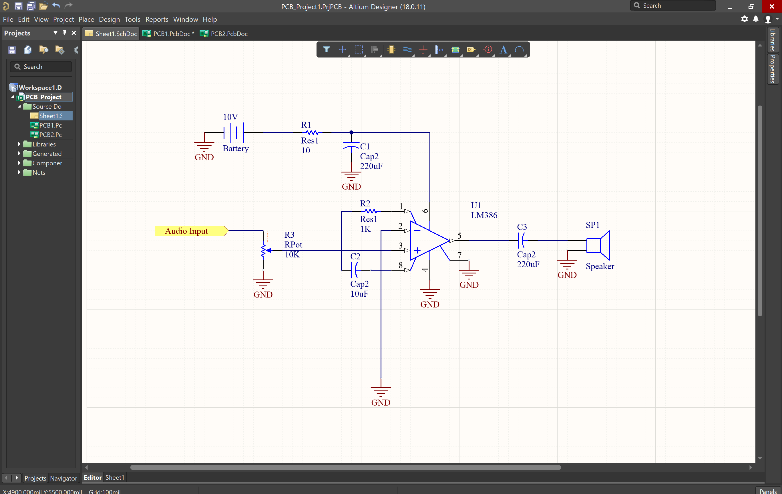 Schematic with components placed, routing, grounding, and a port