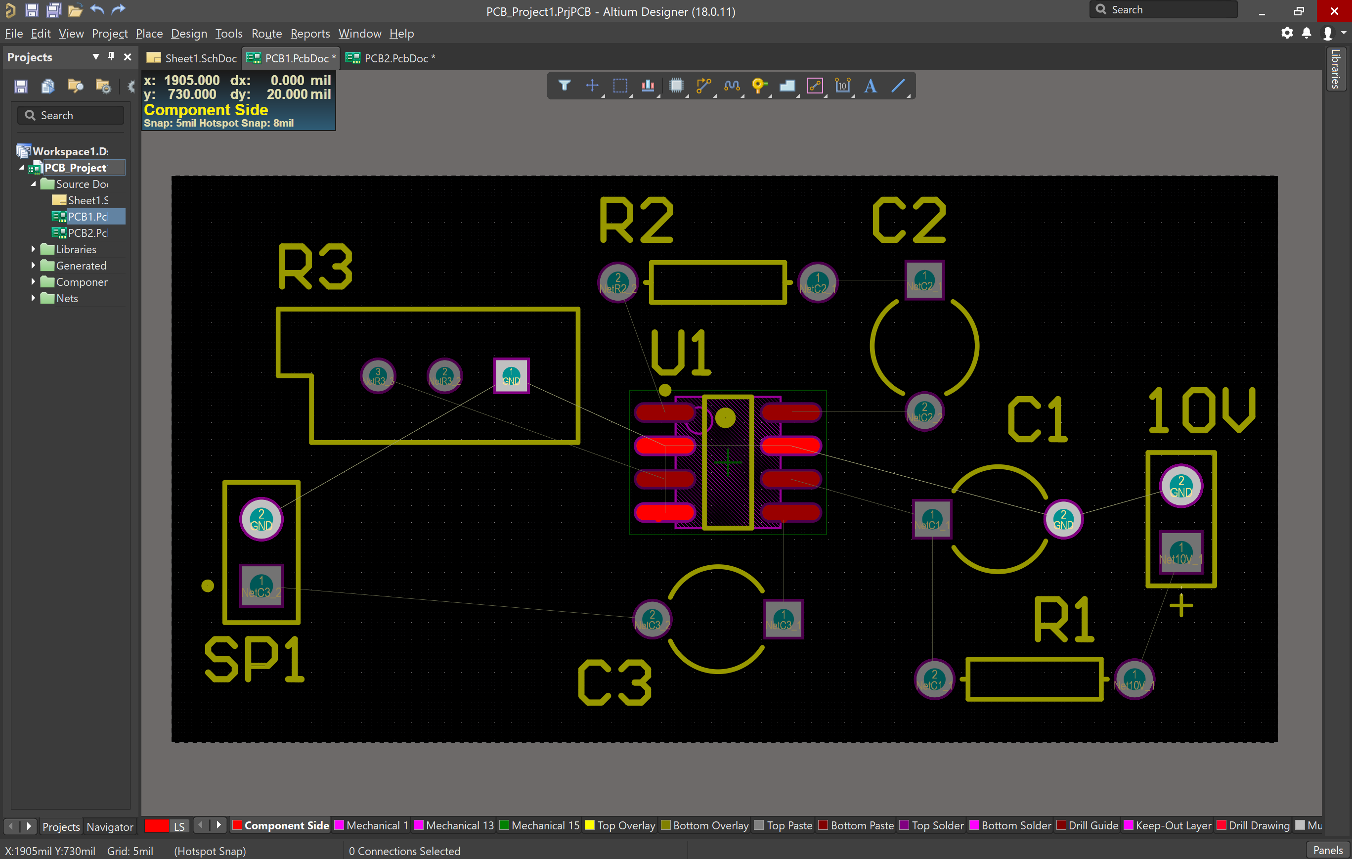 Placed components on PCB document in Altium Designer