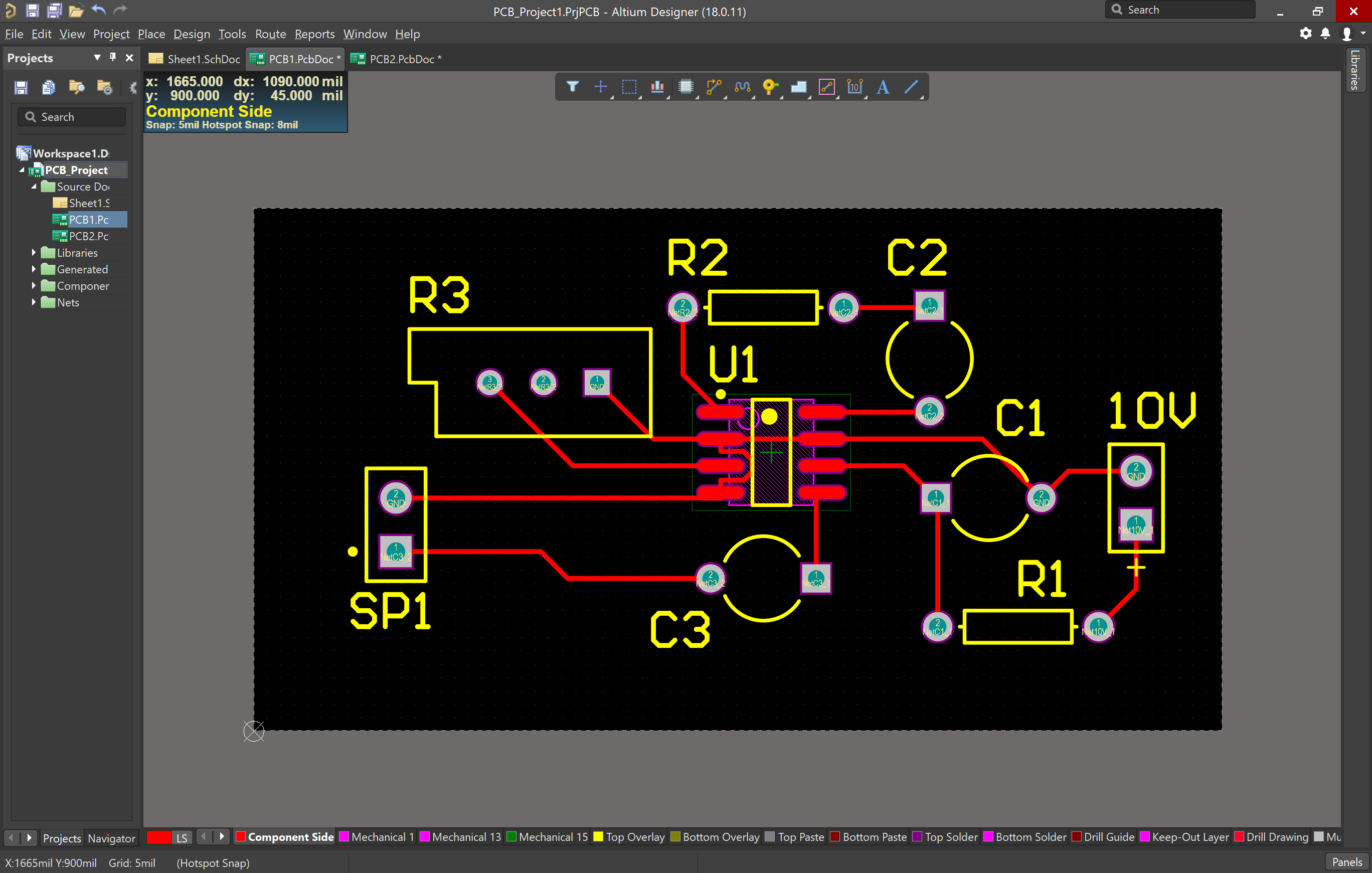 Routed PCB in Altium
