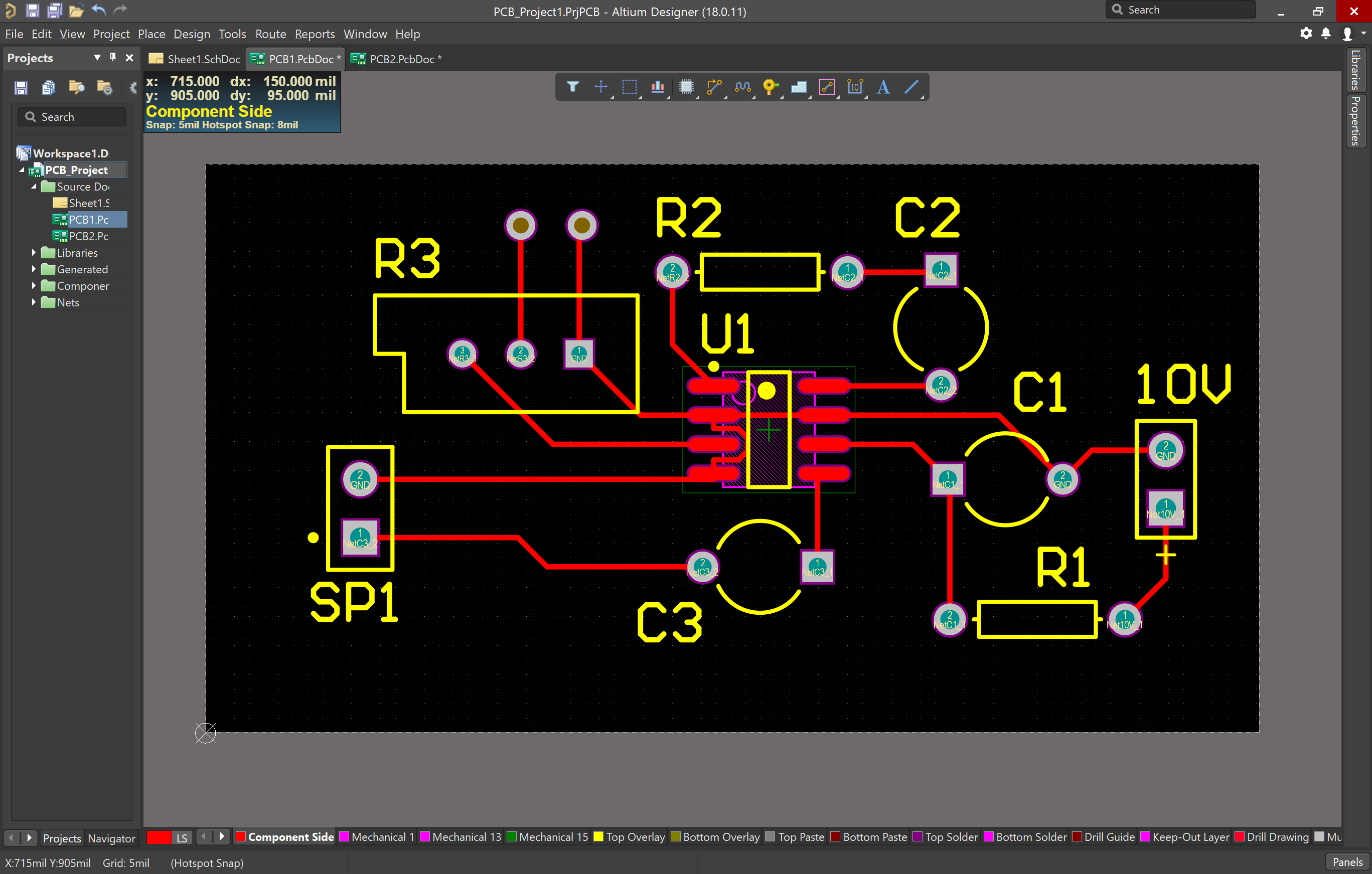 Fully routed and with vias added PCB in Altium