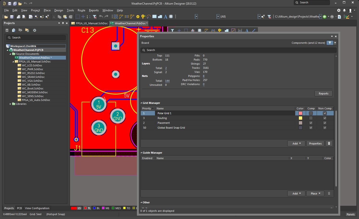 Altium Designer session with polar grid added to the grid manager