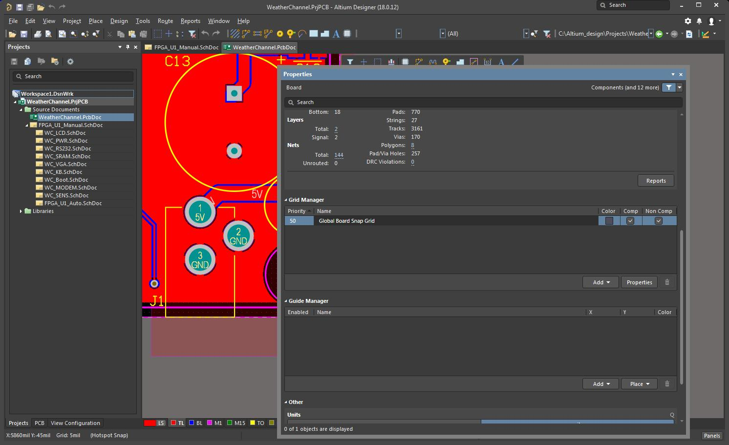 Altium Designer session with the grid manager open