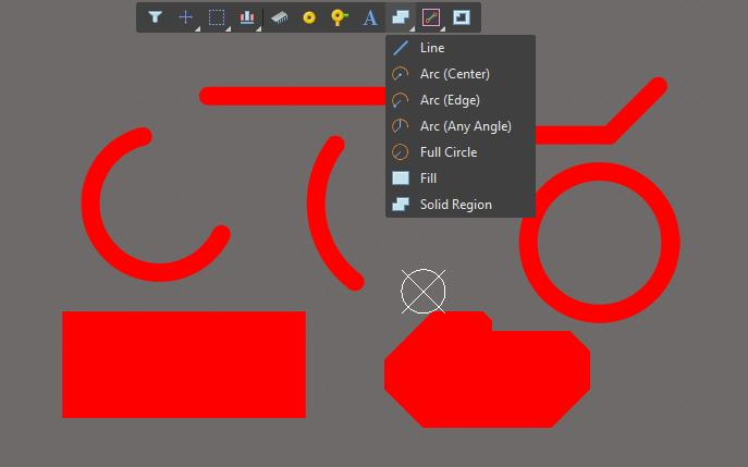 Screenshot of layout shapes in AD 18