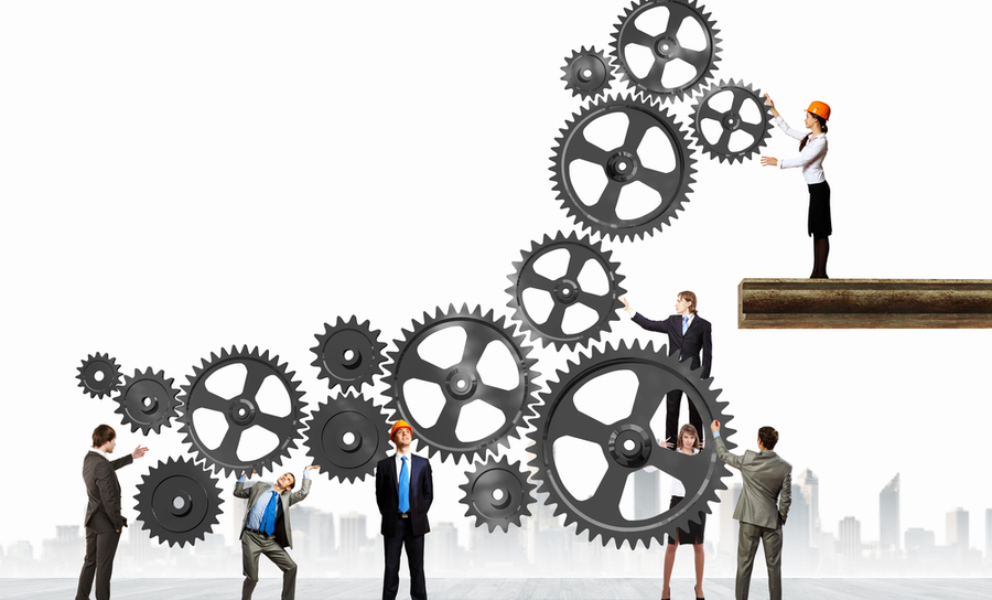 Vector of business people working on gears together
