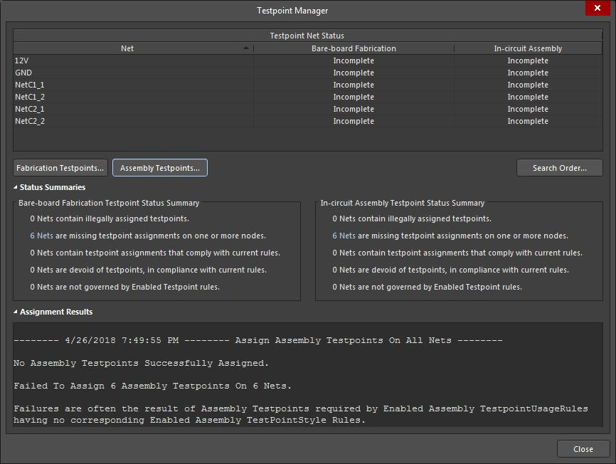 Screenshot of AD18 testpoint manager menu with assignment failures