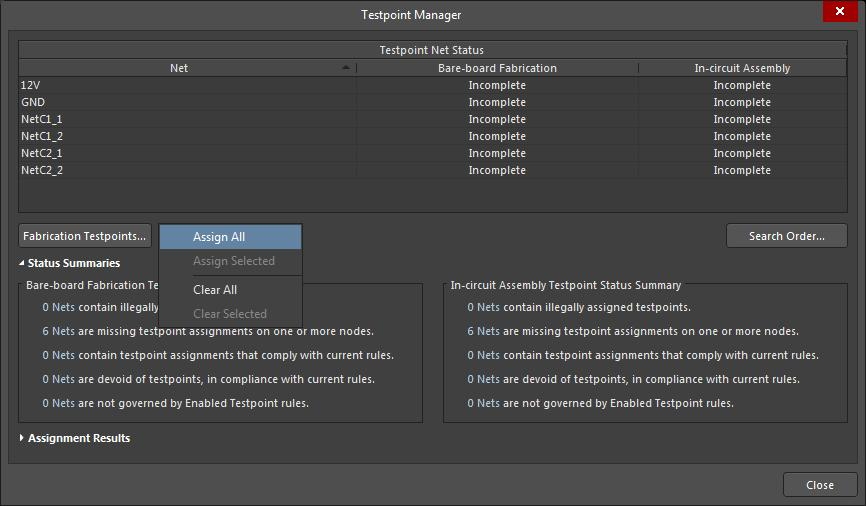 Screenshot of AD18 testpoint manager menu