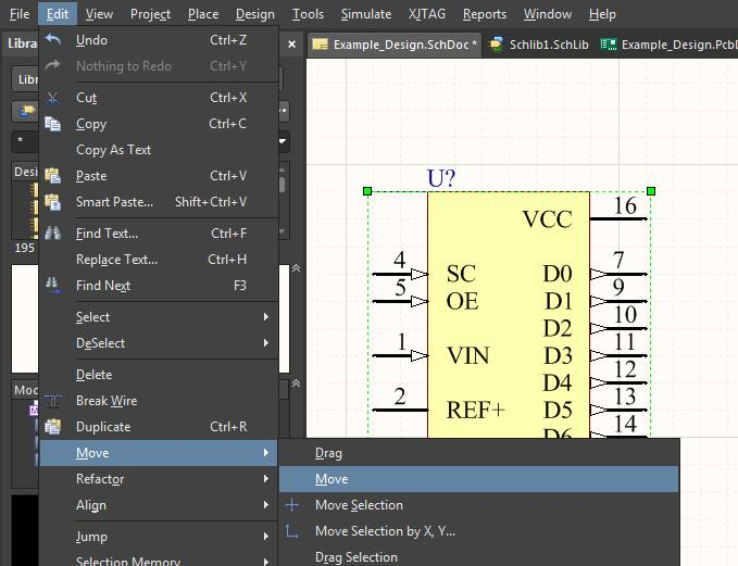 Move a part in Altium Designer