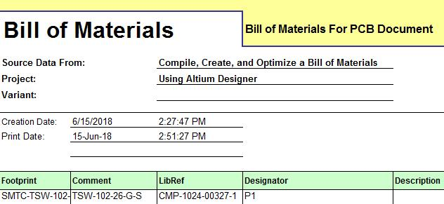 Screenshot of AD18 bill of materials header in optimize a bill of material