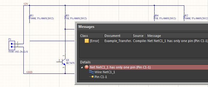 AD18 screenshot of compiler error in create PCB from schematic