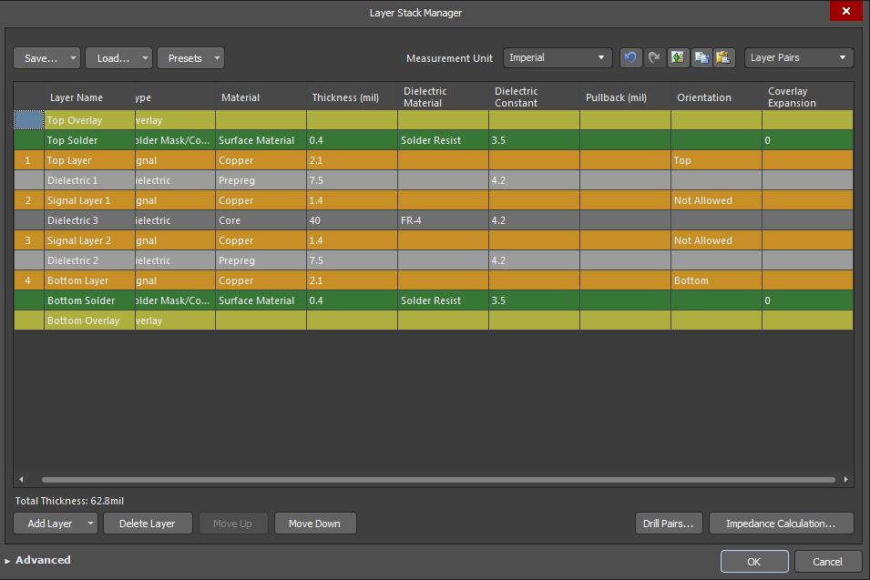 Screenshot of AD18 layer stack manager-4 in best uses for each layer