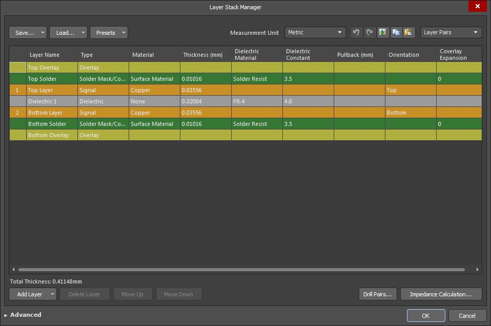 Screenshot of AD18 layer stack manager-2 in best uses for each layer